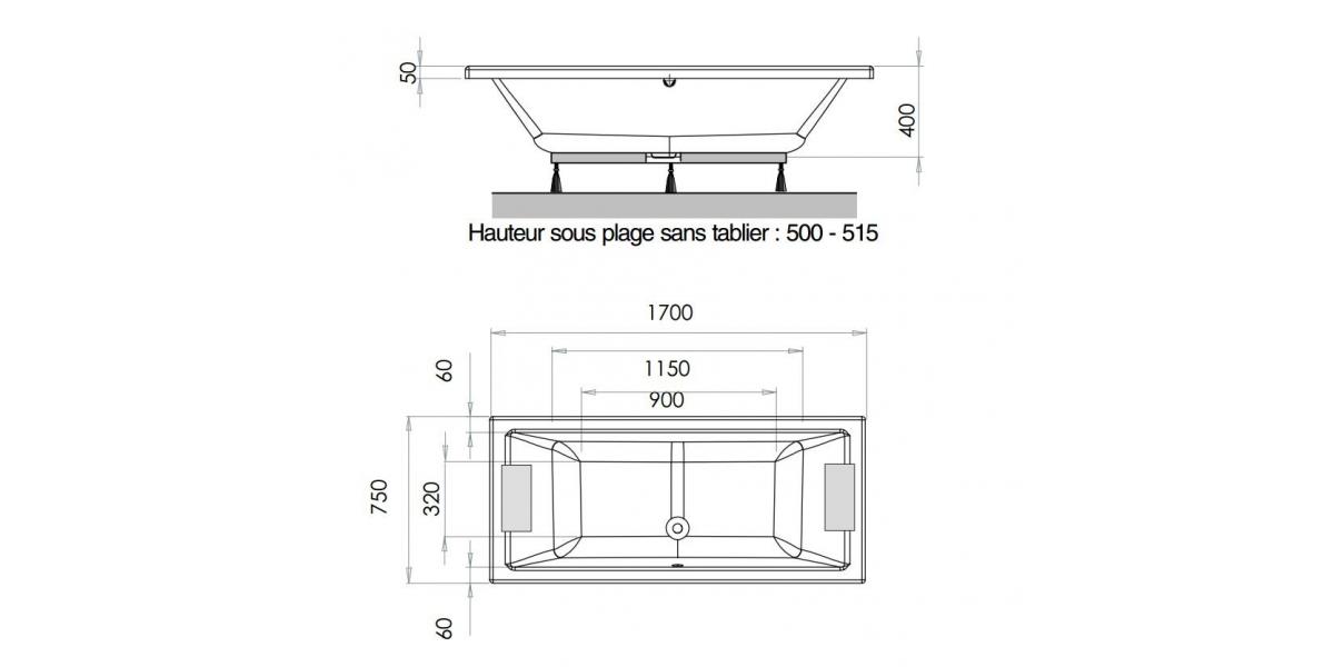 baignoire droite ultra design s rie quadra avec r flex. Black Bedroom Furniture Sets. Home Design Ideas