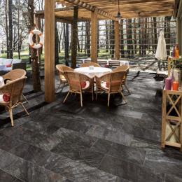 Carrelage sol extérieur effet pierre minéral nero R9 30*30cm