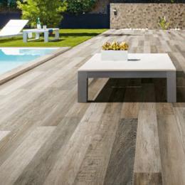 Carrelage sol extérieur effet bois Montréal grey R11 16,4x99,8 cm