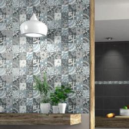 Carrelage mur Décor Fiore gris 25*40 cm