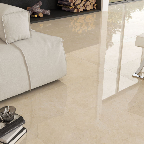 carrelage brillant grand format Vivid beige marbré 75*75 cm