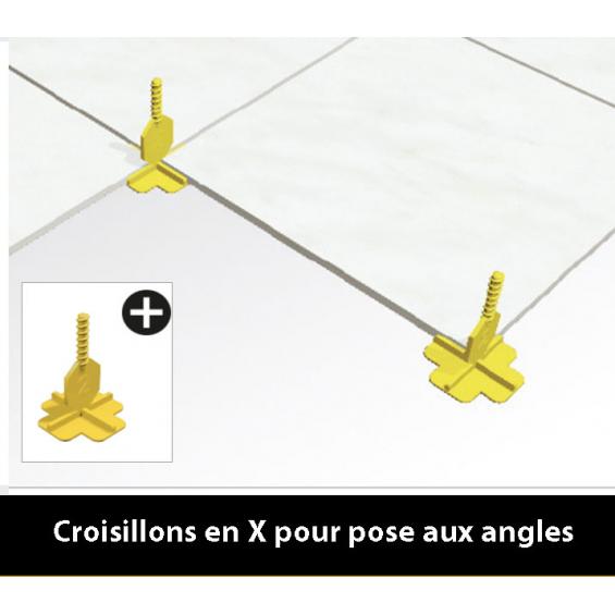 Croisillons 2 mm autonivelant pour pose droite et diagonale.