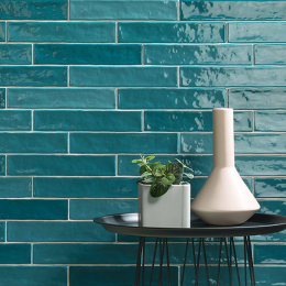 Carrelage mur effet zellige turchese 5*25 cm