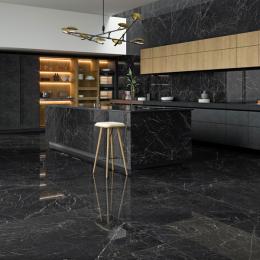 Carrelage sol poli effet marbre Novo nero 120*120 cm