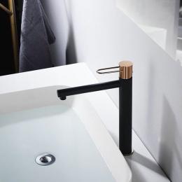 Mitigeur lavabo Arc haut noir / or rose